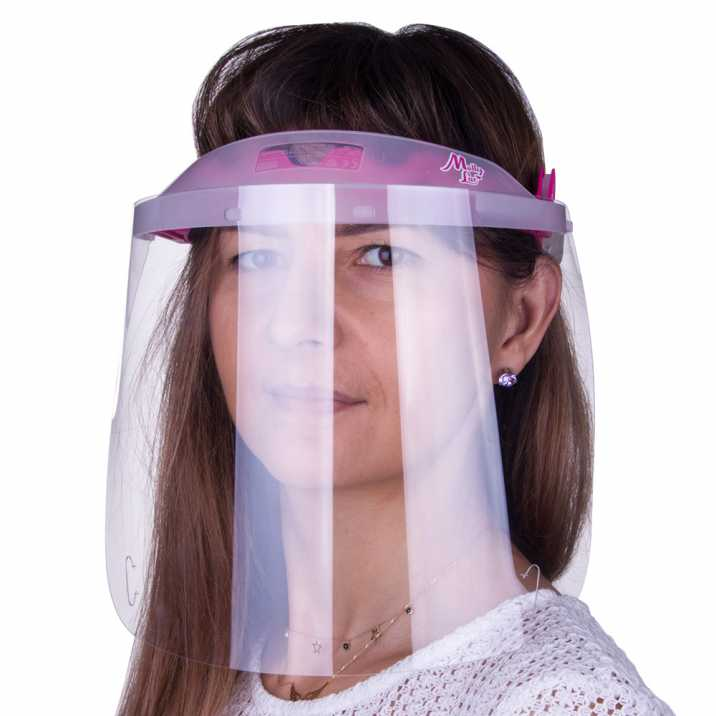Przyłbica maska WM PRO uchylna ultralekka wygodna certyfikowana produkt polski Transparent - Ciemny Róż