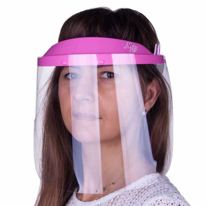 Przyłbica maska WM PRO uchylna ultralekka wygodna certyfikowana produkt polski Jasny Róż - Biały