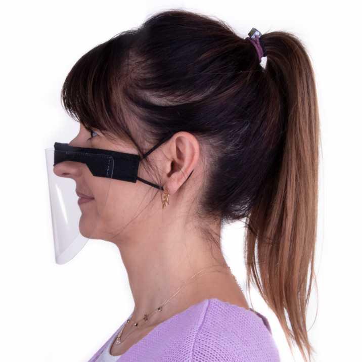 Przyłbica mini maska ochronna na usta i nos wielokrotnego użytku uniwersalna czarna szyta