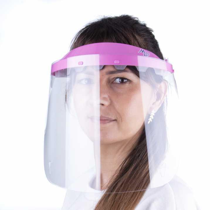 Przyłbica maska WM PRO uchylna ultralekka wygodna certyfikowana produkt polski Jasny róż - Transparent