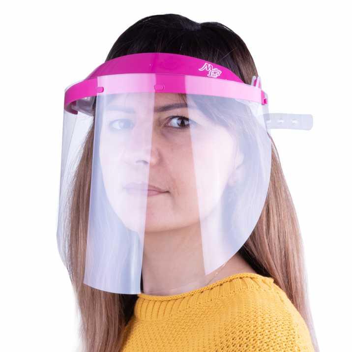 Przyłbica maska WM PRO uchylna ultralekka wygodna certyfikowana produkt polski Ciemny róż - Transparent