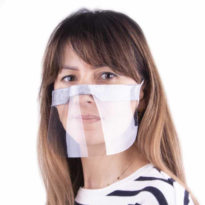 Elastyczna pół przyłbica osłona maska na usta nos wielokrotnego użytku uniwersalna szara szyta