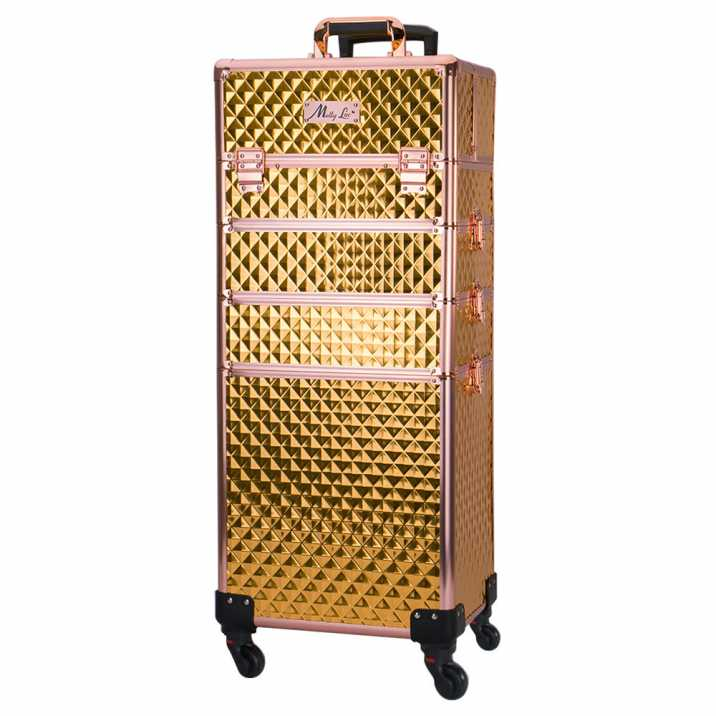 4-in-1 cosmetic case on 360 degree gold/rose gold wheels